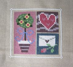 Completed Cross Stitch Picture - Lizzie Kate - February Flip-It - Valentine's Day