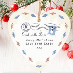 Personalised Sent with Love Heart Christmas Wooden Decoration