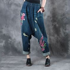 Spring Fashion Rose Embroidered Jeans    #rose #embroidery #spring #fashion #jeans #baggy #denim #pants #trousers