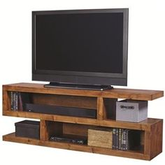 Shop for the Aspenhome Contemporary Alder 74 Inch Open Console with 4 Compartments at Belfort Furniture - Your Washington DC, Northern Virginia, Maryland and Fairfax VA Furniture & Mattress Store Hudson Furniture, Tv Unit Furniture, Pallet Furniture, Furniture Design, Recycled Furniture, Colorful Furniture, Morris Homes, Tv Stand Decor, Rack Tv