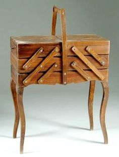 Fold out sewing box, painted white