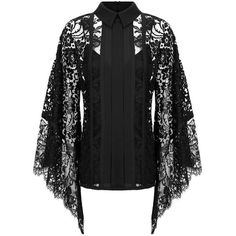 Elie Saab Collared Lace Blouse (15 180 PLN) ❤ liked on Polyvore featuring tops, blouses, shirts, lacy tops, lace collar top, floral blouse, lacy blouses and floral lace blouse