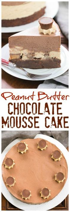 Peanut Butter Chocolate Mousse Cake | Posted By: DebbieNet.com