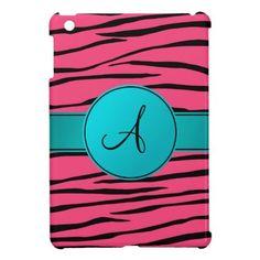 iPad Mini Case Hot Pink Zebra Print-Personalized Monogram