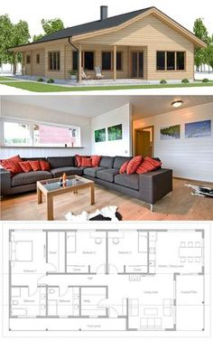 Small Home Plan, Single story home plan, floor plan, small house design Beach House Plans, New House Plans, Dream House Plans, Modern House Plans, Small House Plans, House Floor Plans, House Layout Plans, House Layouts, Small House Design
