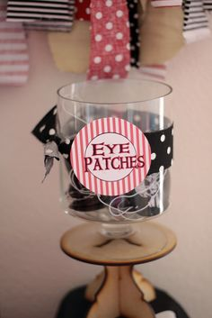 Eye patches at a Pirate Party!  See more party ideas at CatchMyParty.com!  #partyideas #pirate