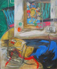 """Arte en Buenos Aires. Mariana Jasovich :. pinturas Serie Espacos interiores. """"La rueda de la fortuna""""acrílico sobre tela 115 x 95"""