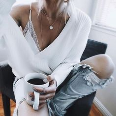 46f89951b2525 lace cami ✨ can t get enough delicate layers.that H diamond chip pendant.  White Sweater OutfitWhite Oversized ...