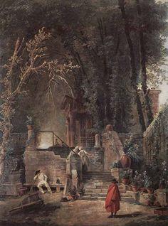 Hubert Robert (1733-1808) Italian Park Oil on wood