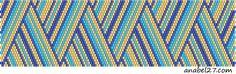 Схема полосатого браслета, мозаичное плетение   - Схемы для бисероплетения / Free bead patterns -