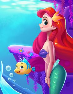 Ariel by - The Little Mermaid Goth Disney Princesses, Disney Princess Ariel, Disney Nerd, Disney Fan Art, Cute Disney, Disney Pixar, Kawaii Disney, Disney Stuff, Ariel Mermaid