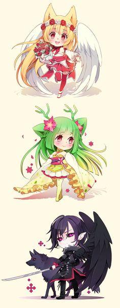 Chibi anime girls middle one reminds me of deerling Manga Anime, Anime Chibi, Draw Chibi, Art Manga, Art Anime, Kawaii Chibi, Cute Chibi, Anime Artwork, Manga Drawing