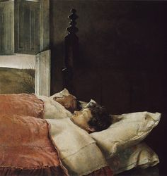 Sleeping. --Andrew Wyeth Just love his dry brush...