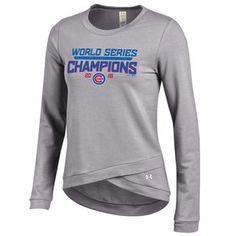 Chicago Cubs Under Armour Women's 2016 World Series Champions Cross Over Crew Sweatshirt - Gray
