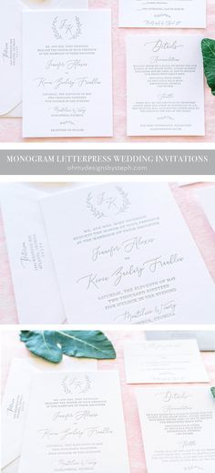 Monogram Letterpress Wedding Invitations - perfect for a modern wedding day!