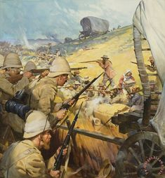 1900 - The Boer War The Battle of Spion Kop.British Vs Dutch fighting over spoils of war,.The defeated Zulu Lands of South Africa. Colonialism was a WAR on Aficans. Lest We Forget Military Art, Military History, British Soldier, British Army, British Colonial, Art Graphique, African History, British History, World History