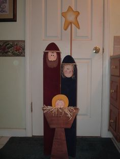 This adorable nativity screen is a best seller at my shows. Mary and Joseph are cut from 1 x 6 pine Joseph is 36 tall Mary is 33 tall Baby Jesus and manger measures 20 tall and 9 1/2 at its widest point. Star is 5 1/2 wide x 7 1/2 tall, it is attached to a wood dowel, that is attached