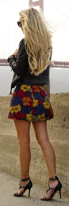 Black Floral Skirt by Kier Couture