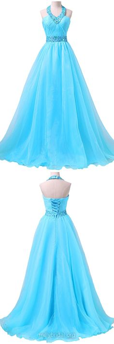 Fashionable Blue Prom Dresses, Long Formal Dresses, Halter Prom Dress, Chiffon Organza Party Dresses, Beading Evening Dresses