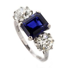 Sapphire Diamond Three Stone Engagement Ring set in Platinum.  United Kingdom        c1930s