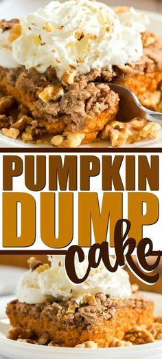 Pumpkin Dump Cake - Ready to Bake in 5 MINUTES! Pumpkin Dump Cake - Ready to Bake in 5 MINUTES! This pumpkin dump cake is a fun twist on a classic pumpkin pie. It combines all the things you love into one simple dish. Pumpkin Spiced Latte Recipe, Pumpkin Pie Mix, Pumpkin Pie Recipes, Baked Pumpkin, Pumpkin Dump Cakes, Pumkin Pie Cake, Carrot Cake, Easy Pumpkin Desserts, Pumpkin Deserts