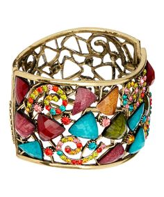 Another great find on #zulily! Goldtone & Teal Cutout Hinge Cuff by Punky Jewels #zulilyfinds