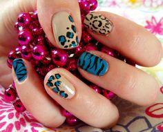 Blue, black and nude animal-printed nail decoration. Wow Nails, Nail Decorations, Cool Nail Designs, French Nails, Nails Inspiration, How To Do Nails, Pedicure, Hair And Nails, Nail Polish