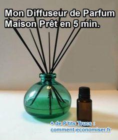 Rien de plus simple que de faire son diffuseur de parfum maison. Je vous montre comment le créer comment créer votre diffuseur d'huiles essentielle fait maison, prêt en 5 min.  Découvrez l'astuce ici : http://www.comment-economiser.fr/diffuseur-parfum.html?utm_content=buffer1bbd3&utm_medium=social&utm_source=pinterest.com&utm_campaign=buffer