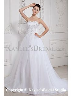 Satin and Tulle Sweetheart Court Train A-line Wedding Dress