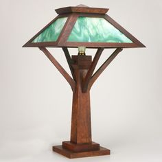 Superior W.B. BROWN CO Arts U0026 Crafts Table Lamp, Ca.1910 Oak And Slag Glass