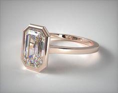 41279 engagement rings, solitaire, 14k white gold bezel solitaire engagement ring emerald center item - Mobile