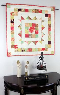 Quilted Wall Hanging Table Topper Mini Quilt by WishFlowerQuilts