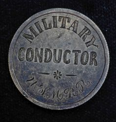 Civil War Military Conductor USMRR Medal Pin Seated Half Dollar Silver UNION