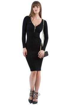 Goddiva Womens Zip Up Rib Knit Midi Dress Black Party Evening Clubwear Bodycon Mini Shirt Dress, Black Party, Black Midi Dress, Clubwear, Rib Knit, Zip Ups, Celebrity Style, Cold Shoulder Dress, Clothes For Women