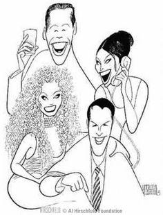 """Will & Grace"" {TV} : Eric McCormack (Will Truman), Debra Messing (Grace Adler), Megan Mullally (Karen Walker), Sean Hayes (Jack McFarland) Black And White Drawing, Black And White Portraits, Satire, Celebrity Caricatures, Celebrity Drawings, Debra Messing, Will And Grace, Art Deco Posters, All Art"