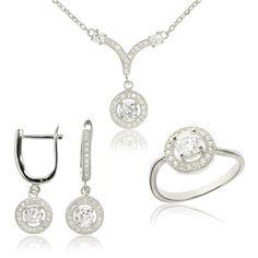 Set argint cu cristale model Anturaj Cod TRSS048