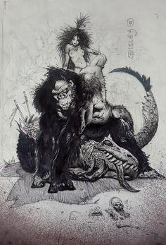 Meanwhile Back in The Dungeon... Simon Bisley, Dark Fantasy Art, Fantasy Artwork, King Kong, Illustrations, Illustration Art, Art Visionnaire, Ligne Claire, Figure Sketching