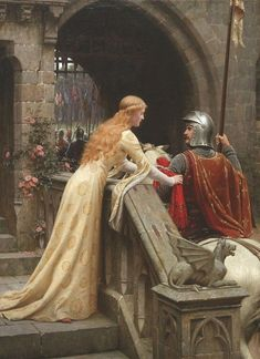 Knights of Gawain's time were tested in their ability to balance the male-oriented chivalric code with the female-oriented rules of courtly love. (God Speed! – Edmund Blair Leighton 1900)