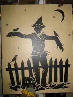vintage thanksgiving silhouettes | Scarecrow Silhouette