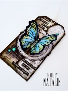 Butterfly vintage tag Handmade card Vintage Tags, Butterfly, Cards, Handmade, Accessories, Vintage Labels, Hand Made, Craft, Bowties