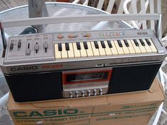 this looks like so much fun! (vintage, casio, synth, keyboard, tape, cassette player, boombox)