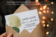 Hydrangea save the date, botanical Save the Date, custom save the date, ivory floral save the date, digital save the date, you print, 7 x 5 by OurFriendsEclectic on Etsy