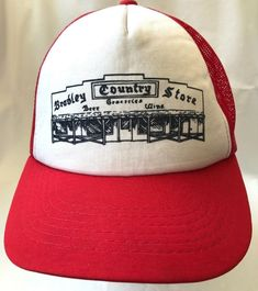 9528f1a0b2d Vintage Bradley Country Store Beer Groceries Red White Mesh Trucker Hat  Snapback  Unbranded  TruckerHat