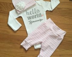 Baby girl coming home outfit Pink Mint Charcoal by GigiandMax