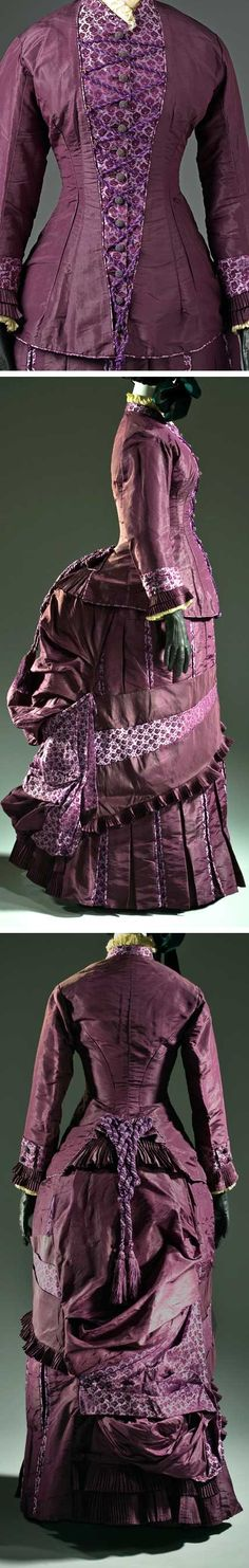 Dress, French, ca. 1885. Silk plain weave (taffeta) and silk plain weave with warp-float patterning and supplementary weft, and silk knotted tassel. Los Angeles County Museum of Art