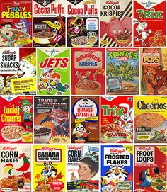 Cereal boxes from the 80′s