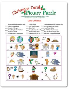 Printable Christmas Carol Picture Puzzle - Funsational.com