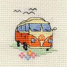 From Mouseloft Mini Cross Stitch Kit - Camper Van Stitchlets Collection Small Cross Stitch, Cross Stitch Cards, Counted Cross Stitch Kits, Modern Cross Stitch, Cross Stitch Designs, Cross Stitching, Cross Stitch Embroidery, Embroidery Patterns, Cross Stitch Patterns