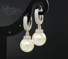 Bridal Pearl Earrings Wedding Jewelry Swarovski Pearls Cubic Zirconia Drop Bridesmaid Gift White Ivory/Cream Round Dangle
