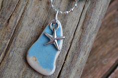 Light Blue Genuine Irish Sea pottery and Star fish charm necklace by MajackalCreations on Etsy Irish Sea, Sea Glass Jewelry, Starfish, Light Blue, Pottery, Pendant Necklace, Drop Earrings, Etsy, Jewellery